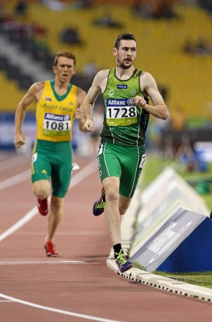 30 October 2015; Ireland's Michael McKillop, right, from Glengormley, Co. Antrim, in action alongside eventual second place finisher Australia's Brad Scott, during the Men's 1500m T37 final, in which he finished first with a time of 4:16.19. IPC Athletics World Championships. Doha, Qatar. Picture credit: Marcus Hartmann / SPORTSFILE *** NO REPRODUCTION FEE ***