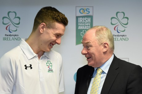 21 January 2016; OCS Limited announced as sponsors of the 2016 Irish Paralympic Team and the 2016 OCS Irish Paralympic Awards. Pictured at the announcement is Michael Ring, T.D., Minister of State for Tourism & Sport, with Luke Evans, captain, 7-a-side football team. OCS Limited, Airways Industrial Estate, Dublin. Picture credit: Stephen McCarthy / SPORTSFILE *** NO REPRODUCTION FEE ***