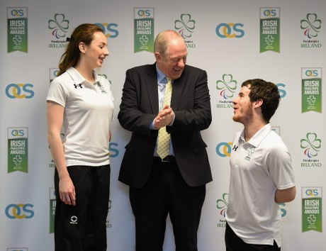 21 January 2016; OCS Limited announced as sponsors of the 2016 Irish Paralympic Team and the 2016 OCS Irish Paralympic Awards. Pictured at the announcement is Michael Ring, T.D., Minister of State for Tourism & Sport, with Ellen Keane and James Scully, both Paralympic Ireland swimmers. OCS Limited, Airways Industrial Estate, Dublin. Picture credit: Stephen McCarthy / SPORTSFILE *** NO REPRODUCTION FEE ***