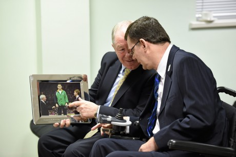 21 January 2016; OCS Limited announced as sponsors of the 2016 Irish Paralympic Team and the 2016 OCS Irish Paralympic Awards. Pictured at the announcement is Michael Ring, T.D., Minister of State for Tourism & Sport, with James Gradwell, President, Paralympics Ireland, after he was presented with a picture of himself presenting a medal to Ireland's Jason Smyth at the London 2012 Paralympic Games. OCS Limited, Airways Industrial Estate, Dublin. Picture credit: Stephen McCarthy / SPORTSFILE *** NO REPRODUCTION FEE ***
