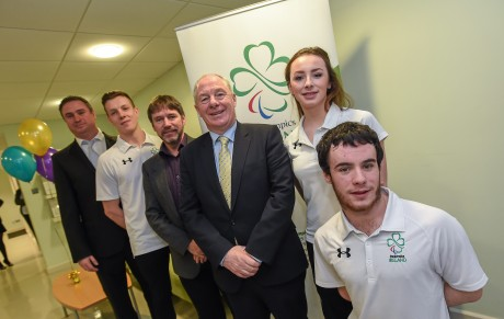 21 January 2016; OCS Limited announced as sponsors of the 2016 Irish Paralympic Team and the 2016 OCS Irish Paralympic Awards. Pictured at the announcement is Michael Ring, T.D., Minister of State for Tourism & Sport, with, from right to left, James Scully and Ellen Keane, Paralympic swimmers, Denis Twomey, Chef de Mission for the Irish Paralympic team for the 2016 Games in Rio, Luke Evans, captain, 7-a-side football team, and Dave Molone, Performance Director, Paralympics Ireland. OCS Limited, Airways Industrial Estate, Dublin. Picture credit: Stephen McCarthy / SPORTSFILE *** NO REPRODUCTION FEE ***