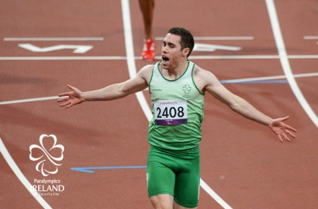 7 September 2012; Ireland's Jason Smyth, from Eglinton, Co. Derry, celebrates after winning gold the men's 200m - T13 final. London 2012 Paralympic Games, Athletics, Olympic Stadium, Olympic Park, Stratford, London, England. Picture credit: Brian Lawless / SPORTSFILE *** NO REPRODUCTION FEE ***
