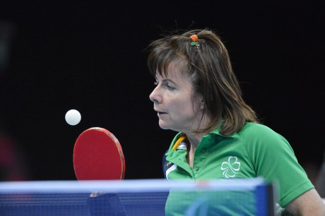 6 September 2012; Ireland's Rena McCarron Rooney, from Buncrana, Co. Donegal, in action during her women's team - classes 1-3 quarter-final match against Michela Brunelli, Italy. London 2012 Paralympic Games, Table Tennis, North Arena 1, ExCeL Arena, Royal Victoria Dock, London, England. Picture credit: Brian Lawless / SPORTSFILE *** NO REPRODUCTION FEE ***