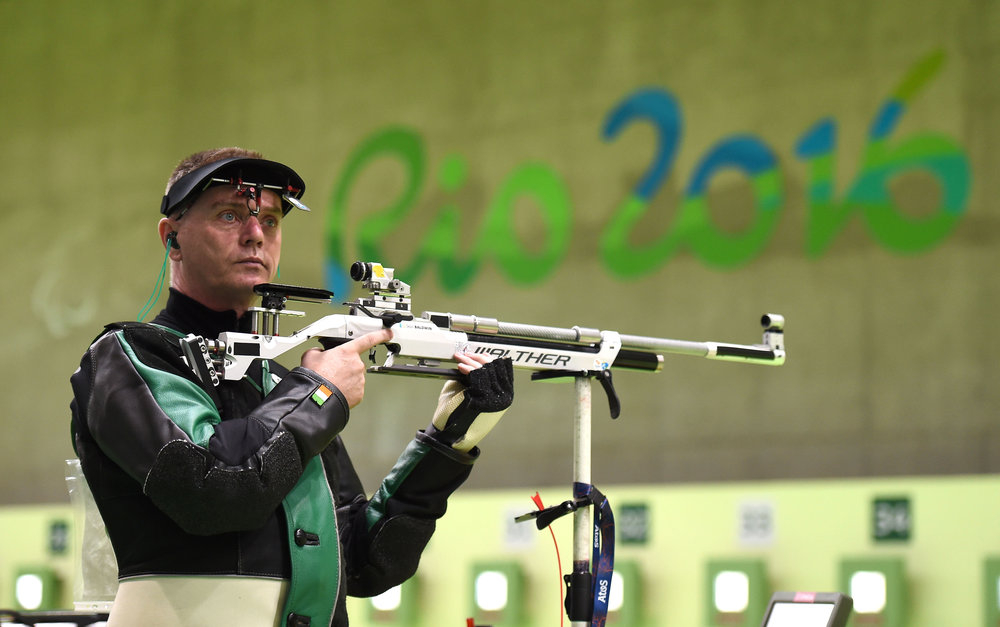 Shooter Sean Baldwin Competing Day 1 in the R1 10m Rifle Standing Qualifier