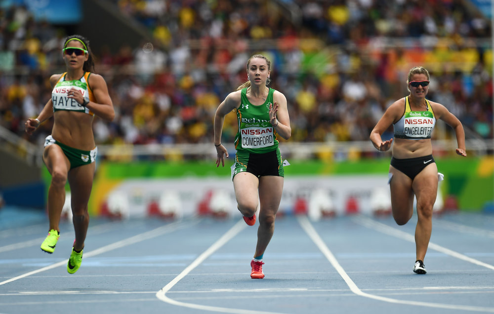 Athletics: Orla Comerford competing in the T13 100m Heats