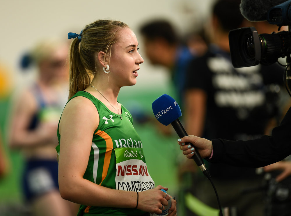 Athletics: Orla Comerford interviewed by RTE Sport after the T13 100m Heats