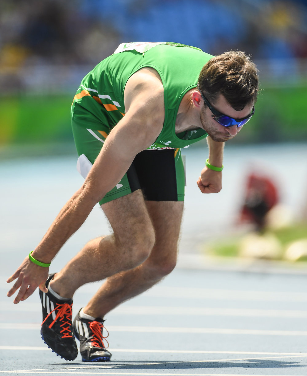 Athletics: Paul Keogan after a false start in the T37 400m Heats