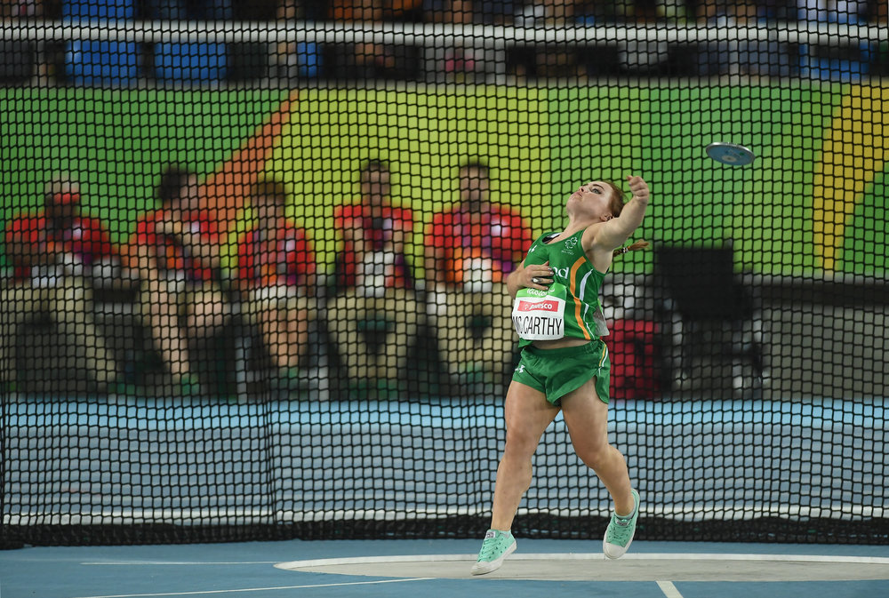Athletics: Niamh McCarthy in the F41 Discus Final