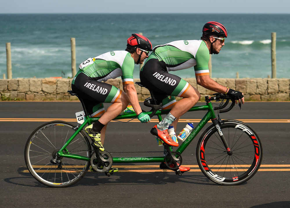Cycling: Damien Vereker and Pilot Sean Hahessy compete in the Men'd B Road Race