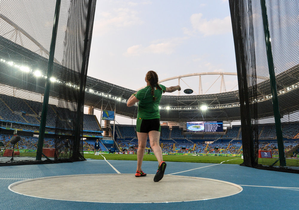 Athletics: Noelle Lenihan competes in the F38 Discus Final