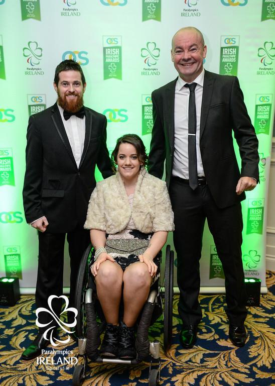 Phelim Lynch, Ciara Staunton and Enda Smith arrive at the OCS Irish Paralympic Awards