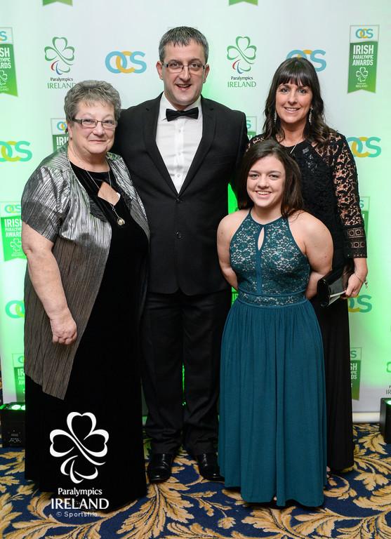 Jenny Turner, Jason Turner, Nicole Turner and Bernadette Turner arrive at the OCS Irish Paralympic Awards