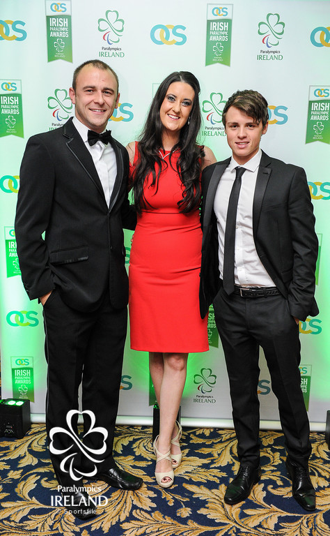Diarmuid Greene of Sportsfile, Anne McCarthy of Sport Ireland and Ryan Bailey, of the the42.ie, in attendance at the OCS Irish Paralympic Awards