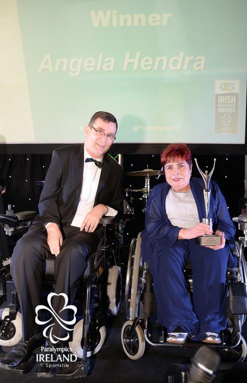 Angela Hendra, who was honoured as the Irish Paralympic Order, with Paralympics Ireland President Jimmy Gradwell, at the OCS Irish Paralympic Awards