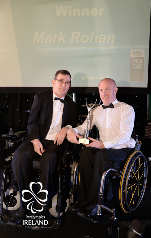 Mark Rohan, right Hall of Fame inductee, with Paralympics Ireland President Jimmy Gradwell, at the OCS Irish Paralympic Awards