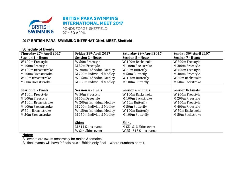 Please note: The competition time table subject to change
