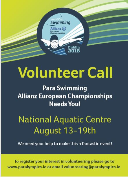 We are seeking 500 volunteers to help us make the Para Swimming Allianz European Championships the biggest and best event to take place in Dublin this year and now there is only 1 month left to apply to be a part of this great event. To volunteer click HERE We have been delighted with the response to date as so many people have committed to giving their time to this brilliant event. We still need more volunteers in all areas regardless of levels of experience or expertise. So, get involved and be part of #Dublin2018 -