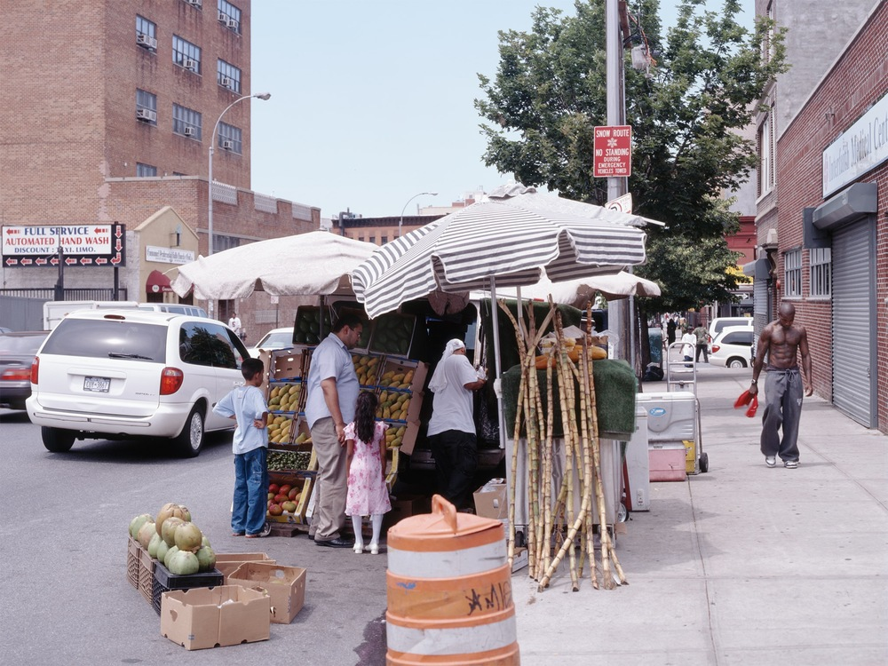Hot summer day fruit stand   Bedford-Stuyvesant 2005   Bedford Ave. and Herkimer Street  40.679245, -73.952994