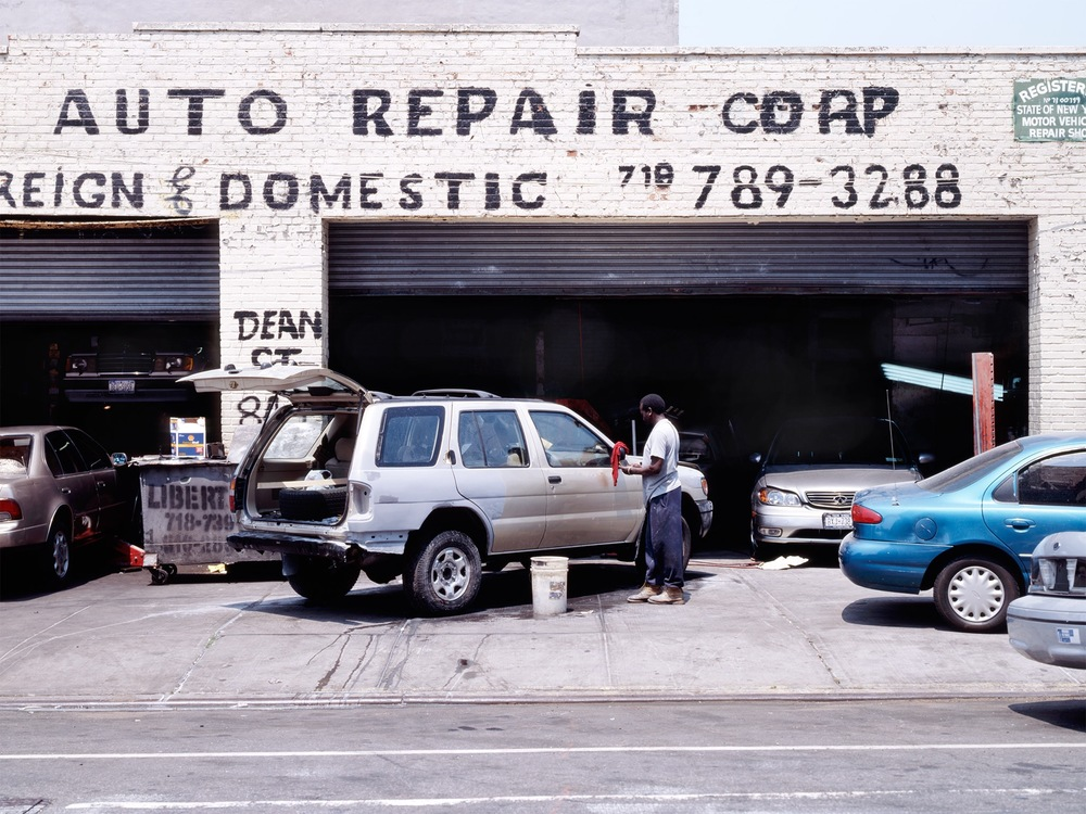 Auto Repair on a summer day   Prospect Heights 2007   Dean Street and Grand Ave.  40.678847, -73.961682