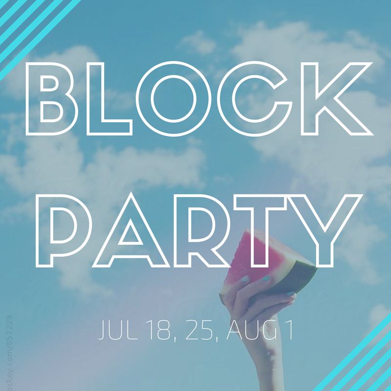 BLOCK PARTY. For Incoming 9th-12th graders. July 18, 25, and August 1 at the St Joseph Campus. 8:00-9:30 PM.
