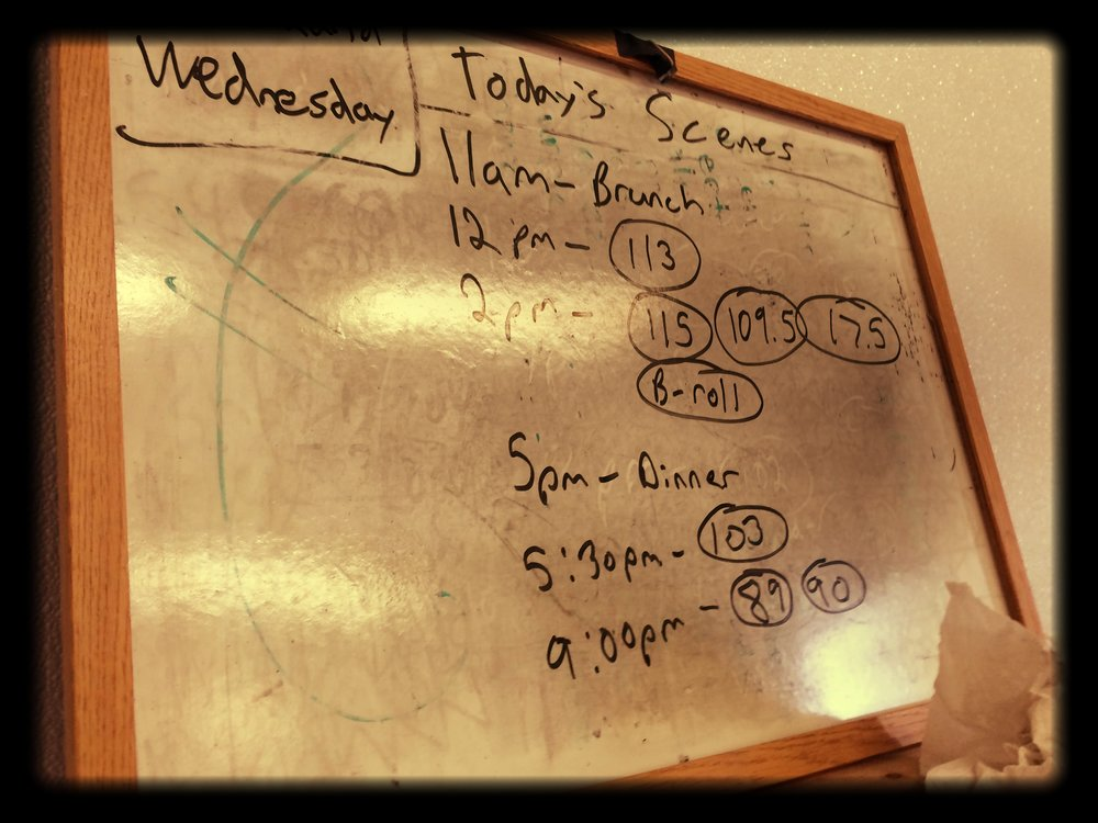 While I was running around at times like a chicken with its head cut off, producer Martin would always always update the daily whiteboard, which laid out the day's schedule, the scenes we were shooting, and when wrap time would be. We like this better than a callsheet because everyone is on set anyway and we all get to peruse the schedule together over breakfast.