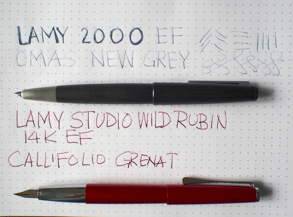 Side by side comparison of 2 EF Lamy fountain pens