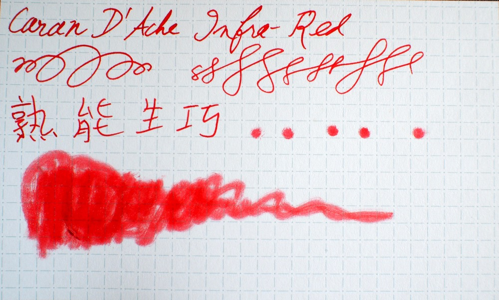Bonus image:  Caran D'Ache Infra Red written with glass pen on Nock Dot Dash notecard