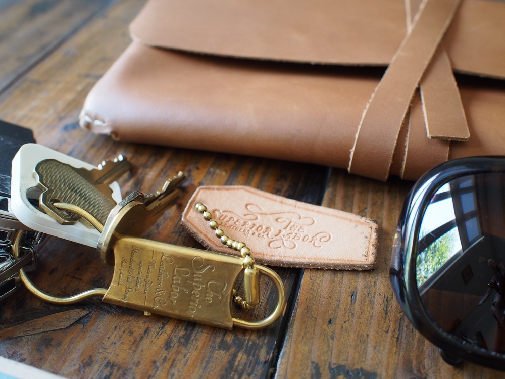 Superior Labour Brass & Leather Keychain