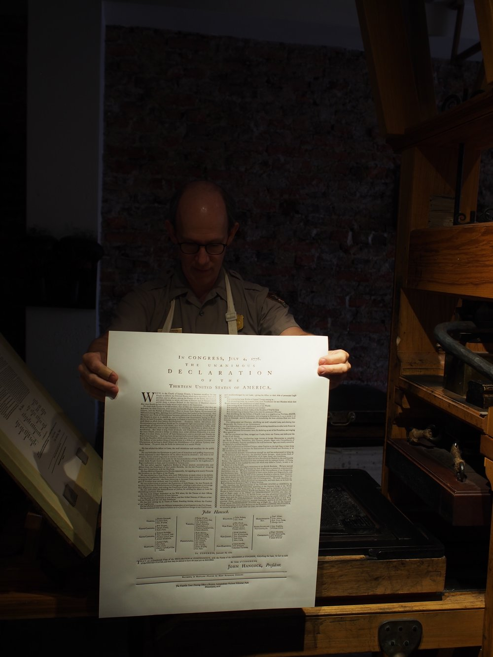 Closer look at the printed sheet:  it's the Declaration of Independence