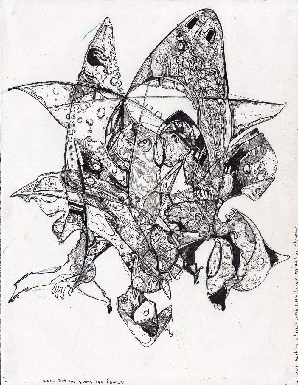 """La gang de sequins aux dents perdus  Pen & Ink on Paper • 11"""" x 17"""" • 2015-16 Drawing Size:11"""" H x 17 W"""" x 0.5 in"""