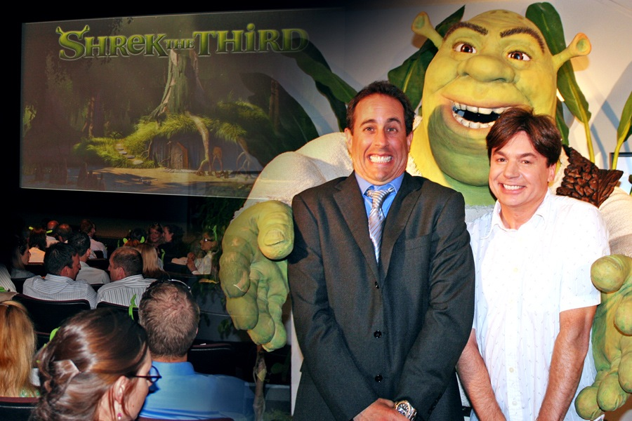 "Jerry Seinfeld, Mike Myers. ""Shrek the Third"" (Special Screenig) / ""Bee Movie"" (Sneak Peek). Dreamworks Merchandis  e Marketing Opportunit  y."