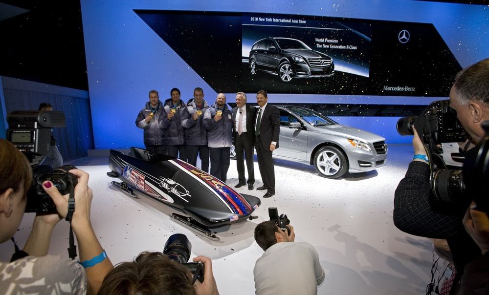 APRIL 2010 | NYC. Mercedes Benz Internatio  nal Auto Show, featuring the 2010 Gold Medal-WInn  ing Olympic Bobsled Team.   Stage Management & Show Direction by Good Sense.