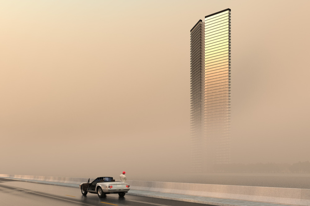 Architectural visualisation of a tower in the Middle East