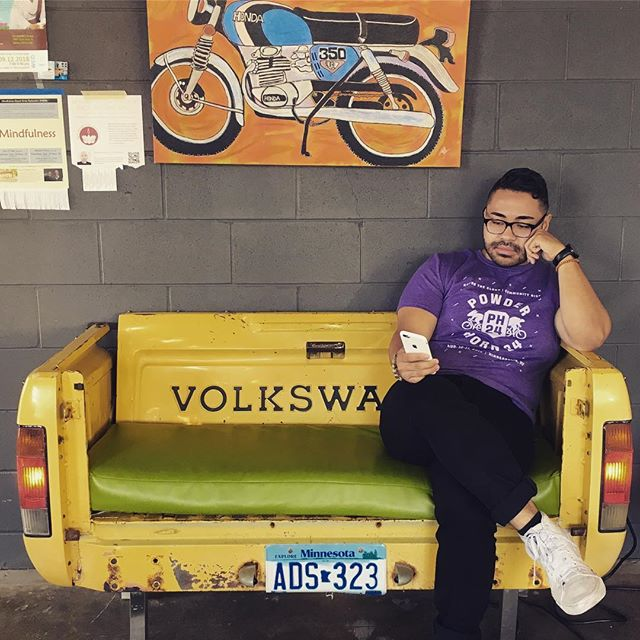 This week's #readingspot is in the back of the car (sort of). Shoutout to @carmacoffee . . . #carpeople also #bookpeople #interiordesign  #roomforonemore