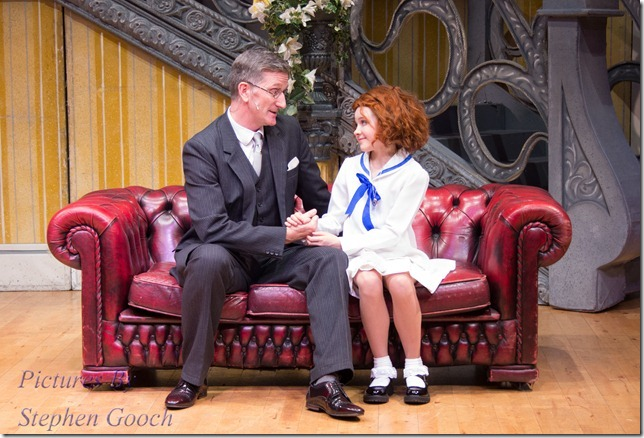 "Oliver ""Daddy"" Warbucks and Annie played by Peter Birch and Natalia Jacques"