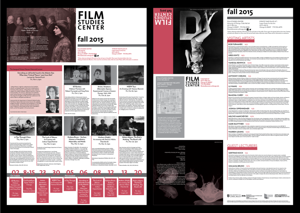 Film Studies Center Programming Calendar Layout