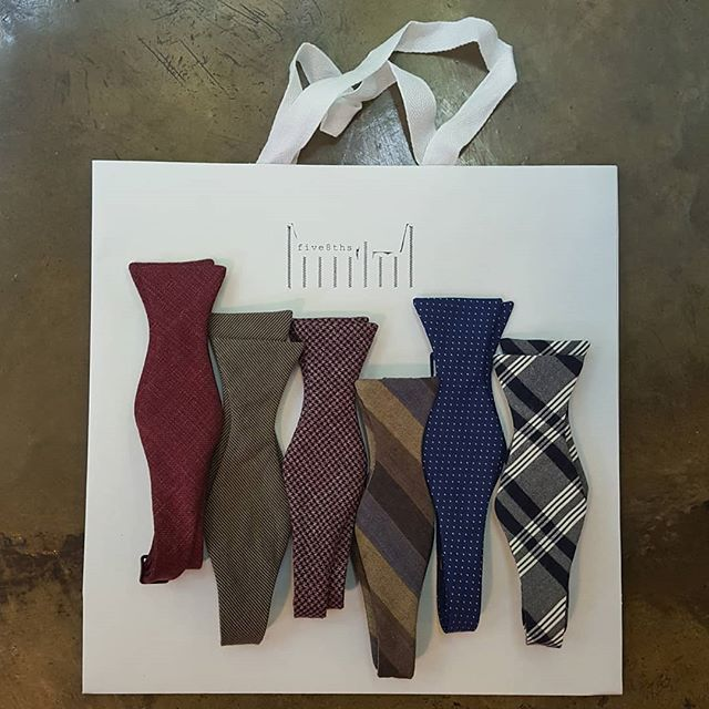 """We're one of the few places in Johannesburg where you can buy self-tie bow ties. Our bow ties are the classic """"thistle"""" shape. We make two different bow sizes, which accommodate different face shapes. (For a classic look the width of the bow should match the width of your face.) These are made from Ormezzano  fabrics from Italy, but since we make them in the shop we can also source from a wide range of fabrics for clients who have a specific colour or style in mind."""