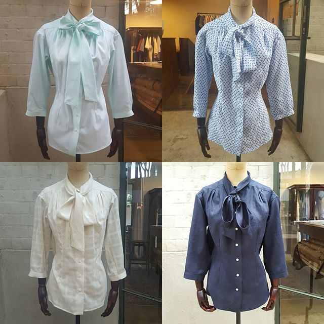Custom clothes allow a person complete control over their own personal style. We made two pussycat-bow shirts for this client a few months ago. She liked them so much that she ordered three more in a variety of fabrics. We love the fact that this look will become part of her personal style.