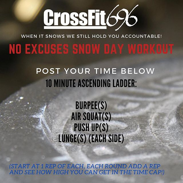 If you missed your morning workout or cant make it in later with the snow heres a little burner to try out at home! #crossfit696 #crossfitopen #crossfit #homeworkout #wod