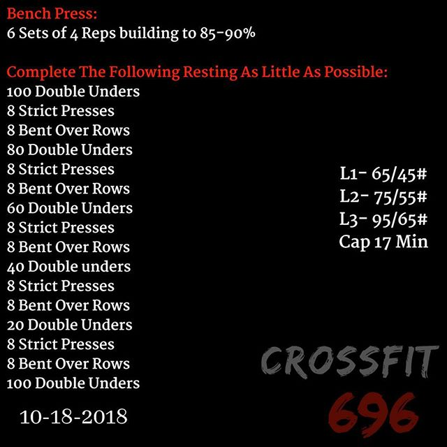 WOD for Thursday Oct 18,2018 Post results in the comments! - - - #crossfit696 #crossfit #wod #fitness #fit #gym #gymmotivation #workout #work #fitnessconcepts