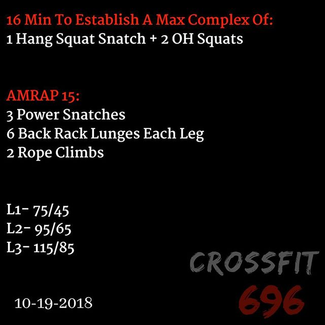 WOD for Friday 19, 2018 Post results in comments! - - - - #crossfit #crossfit696 #fitness #fit #fitnessconcepts #workout #gym