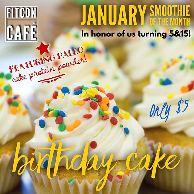 Its our birthday month! We invite you to celebrate with our Birthday Cake Smoothie of the month! #cakeshake #birthday #15yearsstromg #fitnessconceptshealthclub #fitnessconcepts #fitconcafe