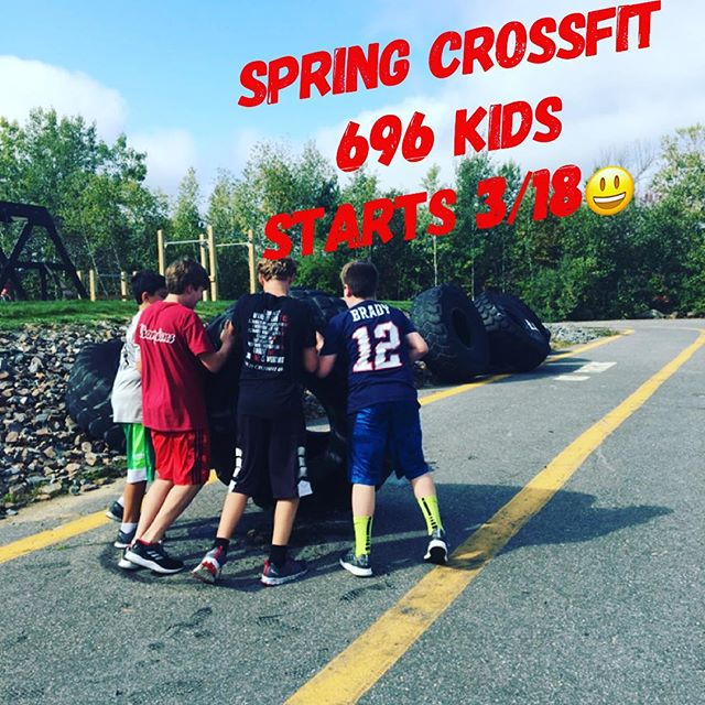 Sign ups for Spring CrossFit 696 Kids are open! 👍🏻 Spots sell out. Sign up today @fitness_concepts 💪🏻 ☀️ Spring is coming!! 👌🙌 #crossfitkids #crossfit696 #stayactive #tireflips #growingupstrong