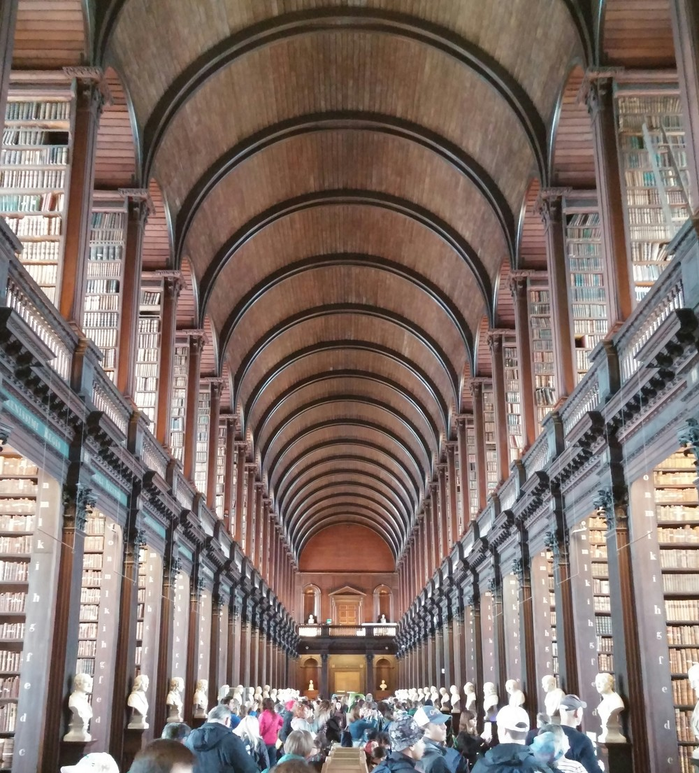The Library at Trinity College in Dublin was quite something. It was here that we had a chance to view the Book of Kells, the ancient illustrated Gospels, Ireland's prized medieval artifact.