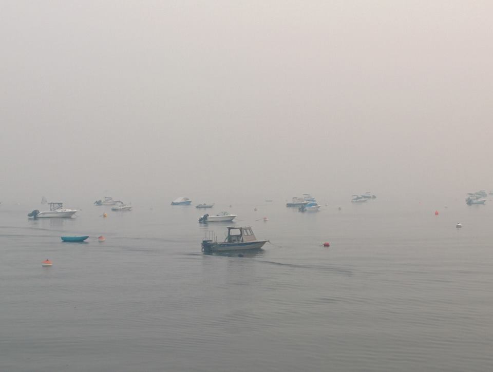 On our final morning on Savary, we woke up to a gray sky and a pink sun. Confused and bewildered, we later discovered that all the islands around ours were on fire. All around, it was a world of smoke.