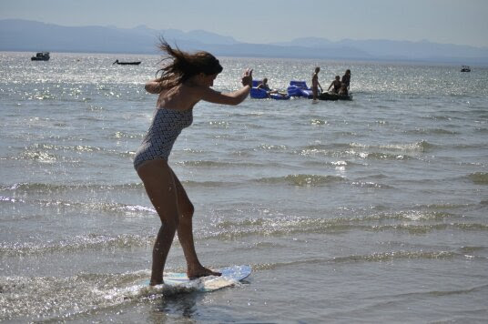 Skimboarding: It's like skateboarding on the ocean.