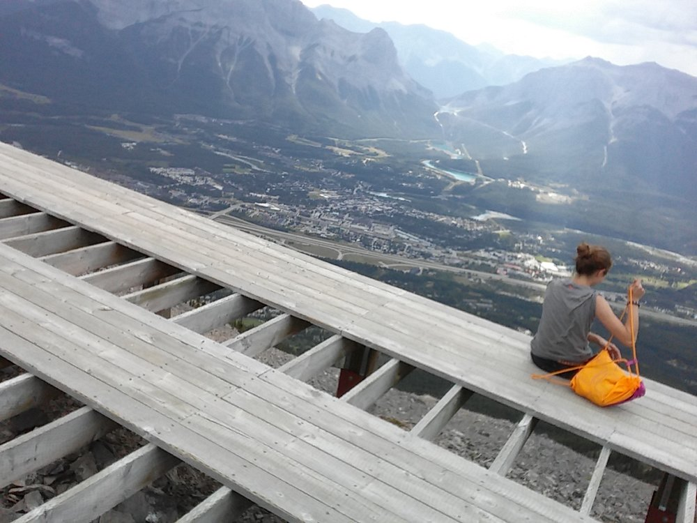 The helicopter landing pad up Mount Lady Mac gave us a perfect spot for a snack, and a breathtaking view of Canmore below.