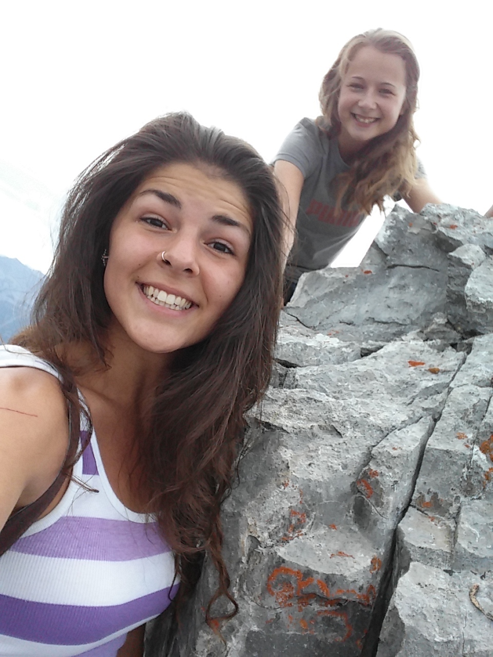 The faces of two hikers who just climbed an entire mountain! Mount Lady MacDonald is by far the hardest, yet most rewarding hike I've ever completed.