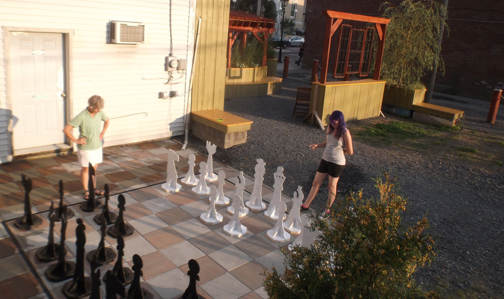 Large scale chess board was used at all hours of the day...and night as it was lit.
