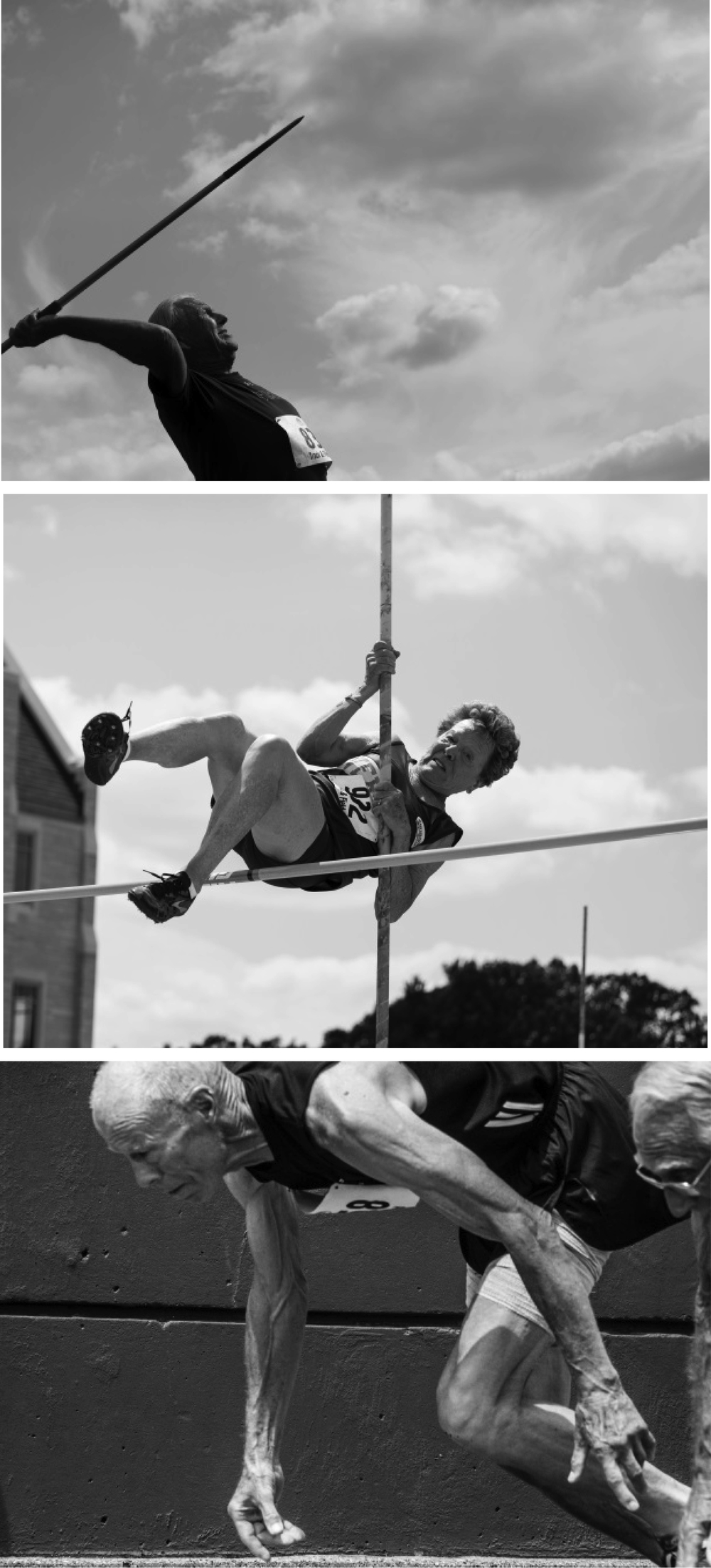 "Athletes Triptych: photographs by Elliot Burg, from the Senior Games in Minneapolis, 2015 Elliot has been taking photographs with a joy in the art form since he first got my hands on a film camera while traveling through the Middle East and Asia in the 1970's. Much of his work has focused on portraits of people in other places and cultures. His photographs have been exhibited in Vermont, New Hampshire, and New York City. A member of the Vermont-based ""f/7"" group of photographers, Elliot recently exhibited, at the Kellogg-Hubbard Library in Montpelier and the Dartmouth-Hitchcock Medical Center, a collection of black and white photographs of track and field athletes of advanced age taken at the 2015 National Senior Games. He is currently working on an exhibition of photographs from Myanmar and Laos. Contact him at eburg4@gmail.com, or on the web at: elliotburgphoto.squarespace.com"